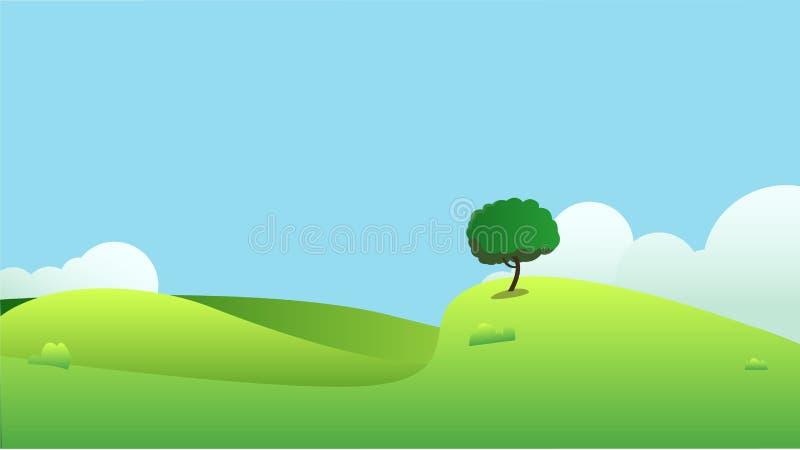 Los campos hermosos ajardinan con un amanecer, colinas verdes, cielo azul del color brillante, ilustración del vector