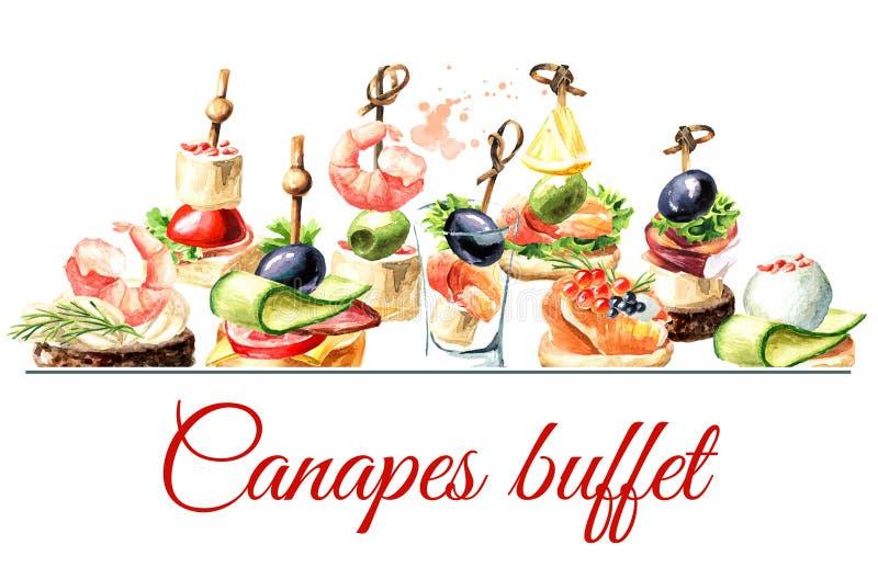 Los Canapes golpean la tarjeta Aperitivo para una tabla festiva Ejemplo dibujado mano de la acuarela aislado en el fondo blanco stock de ilustración