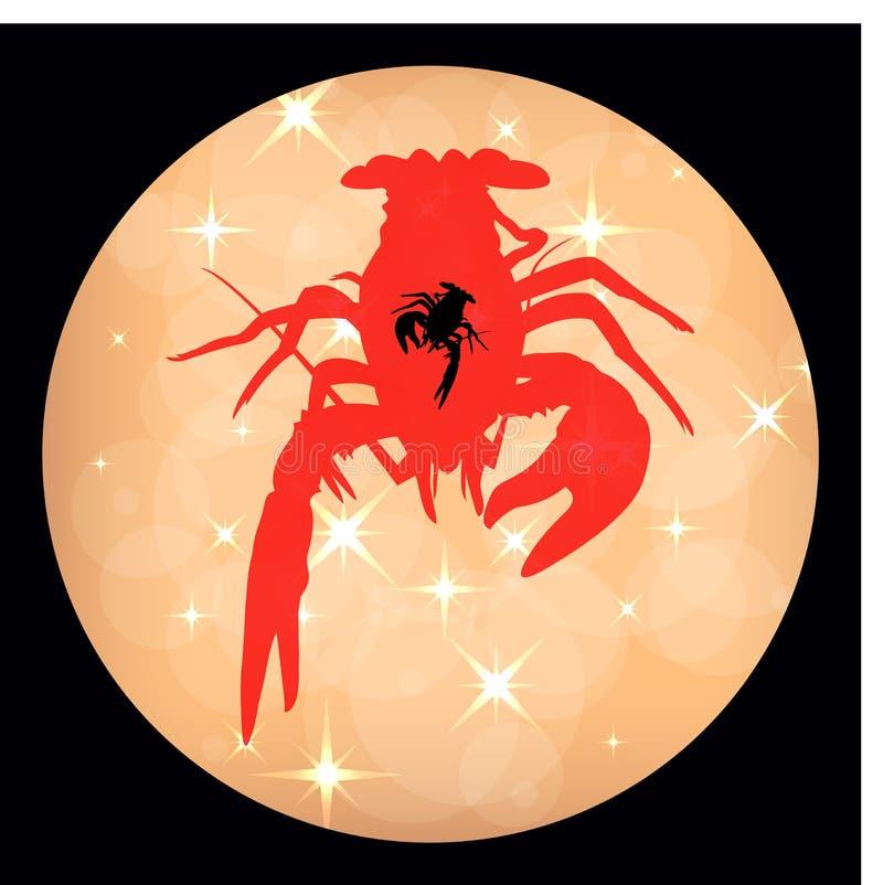 Los cangrejos etiquetan la silueta brillante de los cangrejos del fondo, icono de los cangrejos, muestra de la langosta, ejemplo  ilustración del vector
