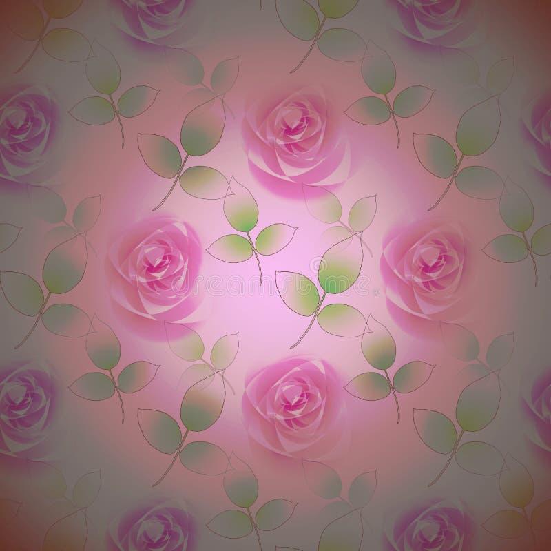 Los capullos de rosa abstractos inconsútiles pican la violeta con las hojas verdes centradas stock de ilustración