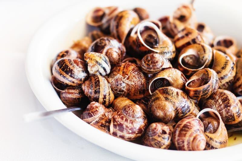 Los caracoles cocinaron en el vino blanco, receta tradicional del Cretan fotos de archivo libres de regalías