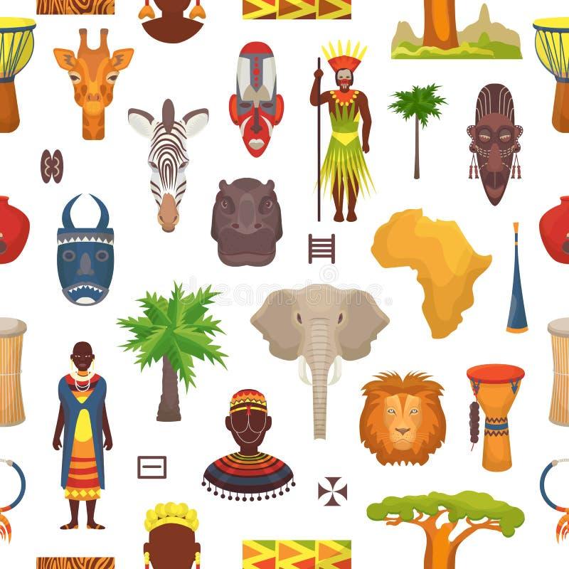Los caracteres africanos del vector de la cultura en ropa tradicional en África con la máscara tribal étnica o tambores en safari stock de ilustración