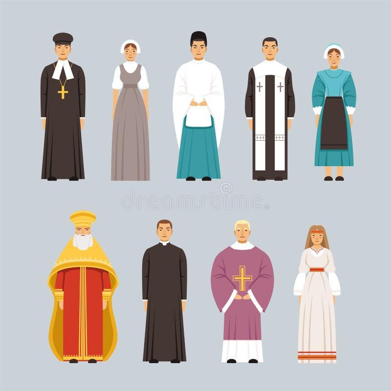 Los caracteres de la gente de la religión fijaron, los hombres y las mujeres de diversas confesiones religiosas en ropa tradicion ilustración del vector