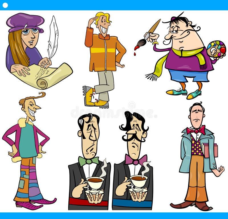 Los caracteres de los hombres fijaron el ejemplo de la historieta ilustración del vector