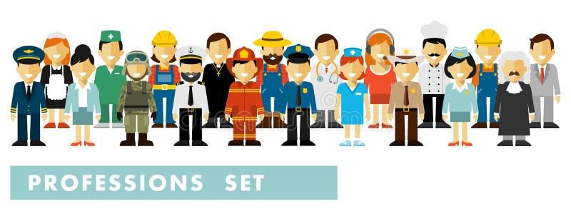 Los caracteres del empleo de la gente fijaron en estilo plano aislado en el fondo blanco ilustración del vector
