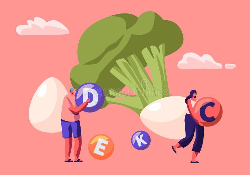 Los caracteres del hombre joven y de la mujer sostienen bolas de la vitamina con bróculi y los huevos enormes alrededor, forma de ilustración del vector