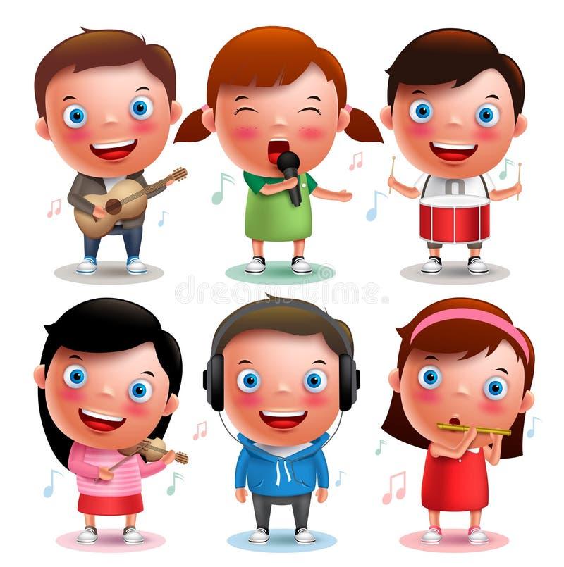 Los caracteres del vector de los niños que tocan los instrumentos musicales les gusta la guitarra, violín, tambores, flauta ilustración del vector