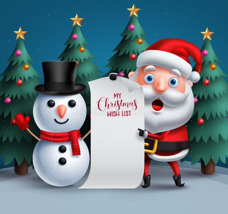 Los caracteres del vector de Papá Noel y del muñeco de nieve que llevan a cabo la Navidad en blanco desean el papel lish libre illustration