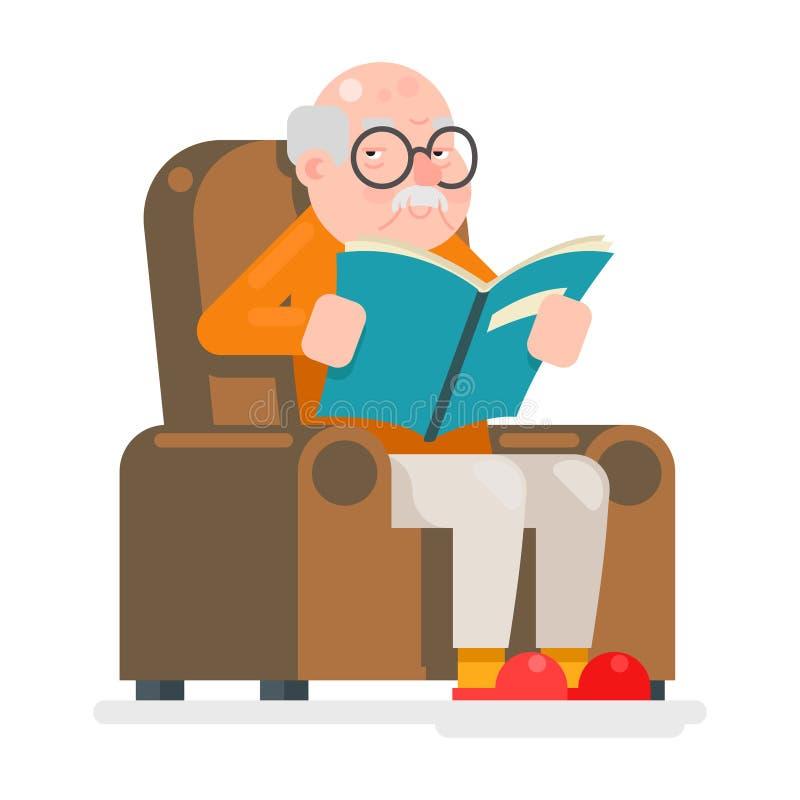 Los caracteres del viejo hombre leyeron el ejemplo del vector del diseño de Sit Chair Adult Icon Flat del libro stock de ilustración