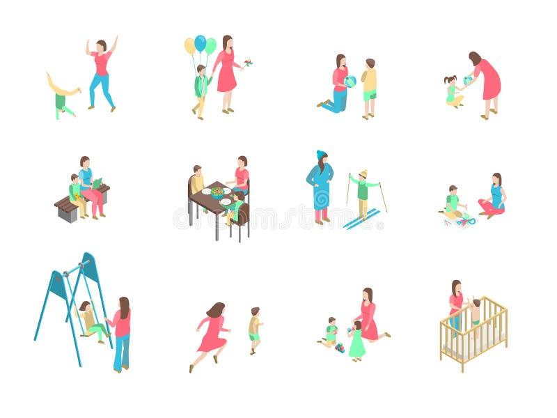 Los caracteres diversos niñera y niños fijaron la visión isométrica 3d Vector ilustración del vector