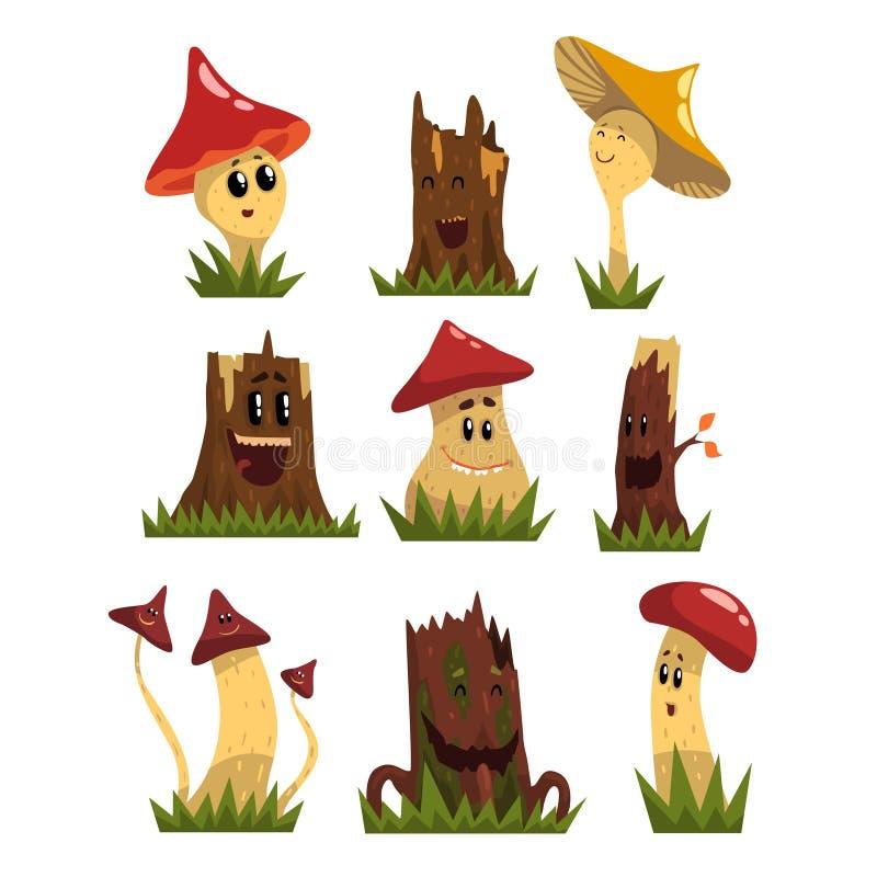 Los caracteres divertidos de las setas fijan, el bosque humanizado lindo prolifera rápidamente y sella con los ejemplos sonriente ilustración del vector