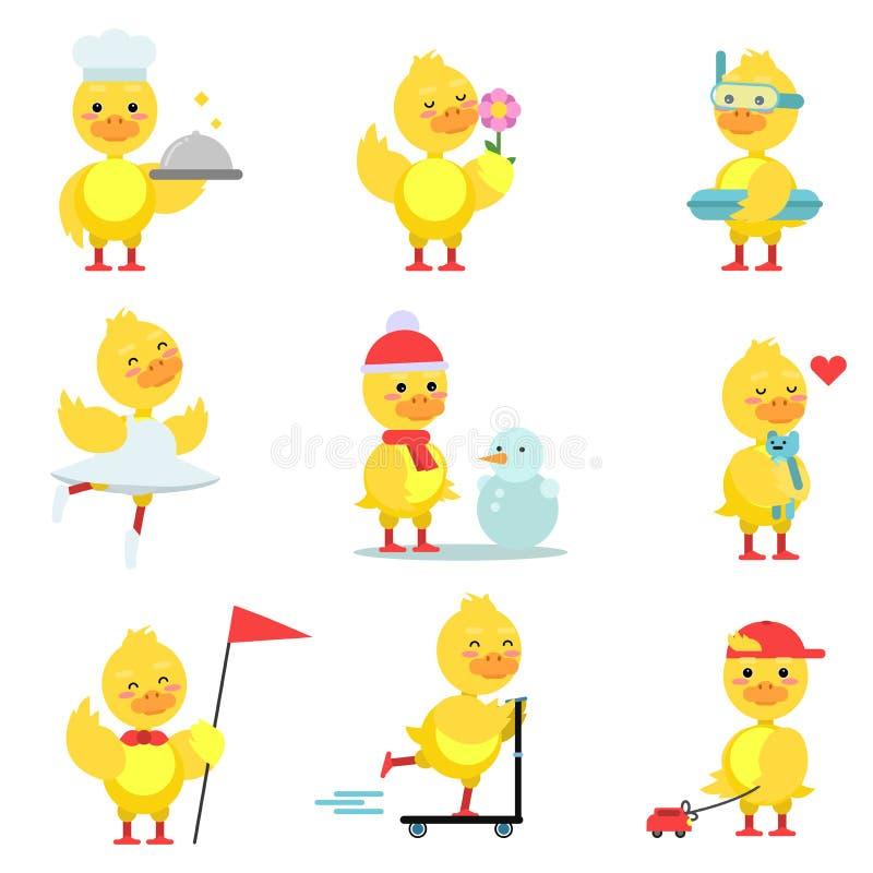 Los caracteres divertidos del anadón fijaron, pato amarillo lindo ilustración del vector
