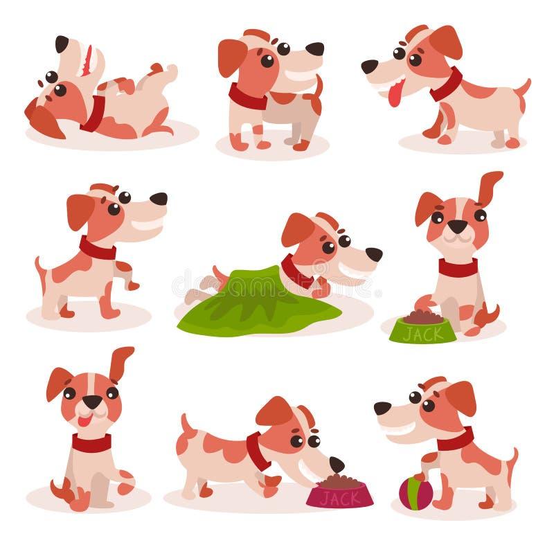 Los caracteres divertidos del terrier de Russell del enchufe fijan, perro lindo en diversas actitudes y las situaciones vector ej libre illustration