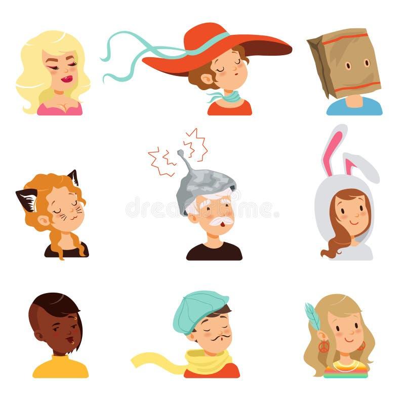 Los caracteres extraños de la gente fijaron, diversos ejemplos divertidos del vector de las caras libre illustration