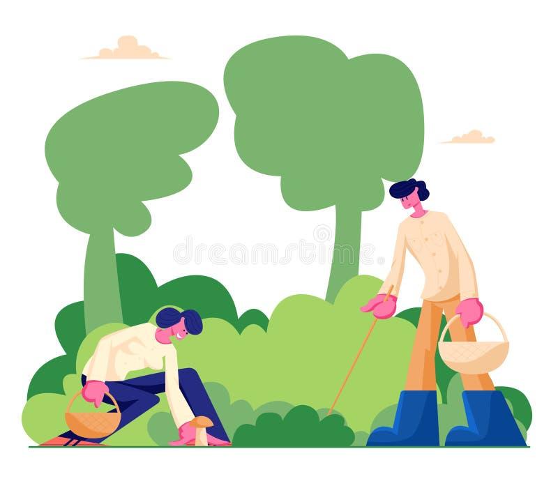 Los caracteres felices cogen setas con los palillos y las cestas pasan tiempo al aire libre en el bosque, Autumn Season, gente qu stock de ilustración