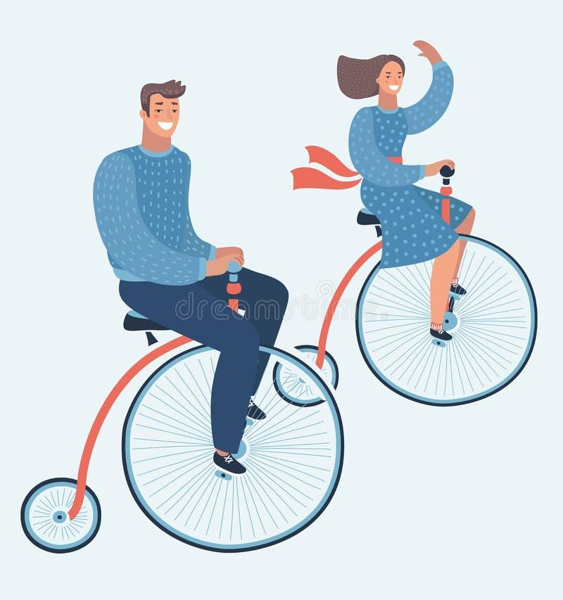 Los caracteres felices del hombre joven y de la mujer juntan la bicicleta del tretro del montar a caballo aislada stock de ilustración