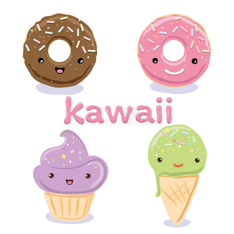 Los caracteres lindos de la comida de Kawaii fijaron colecciones ilustración del vector