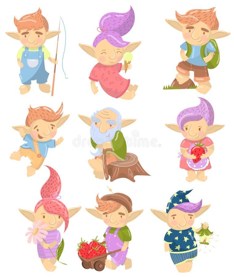 Los caracteres lindos del duende fijaron, las criaturas divertidas con el pelo coloreado en diversos ejemplos del vector de la hi stock de ilustración
