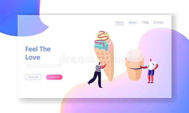 Los caracteres minúsculos con helado enorme en el cono de la galleta adornado con asperjan y desmoche, postre dulce delicioso del stock de ilustración