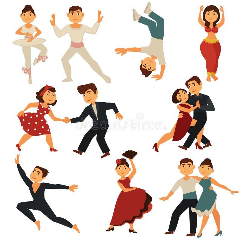 Los caracteres planos de los iconos del vector de la gente del baile bailan diversas danzas ilustración del vector