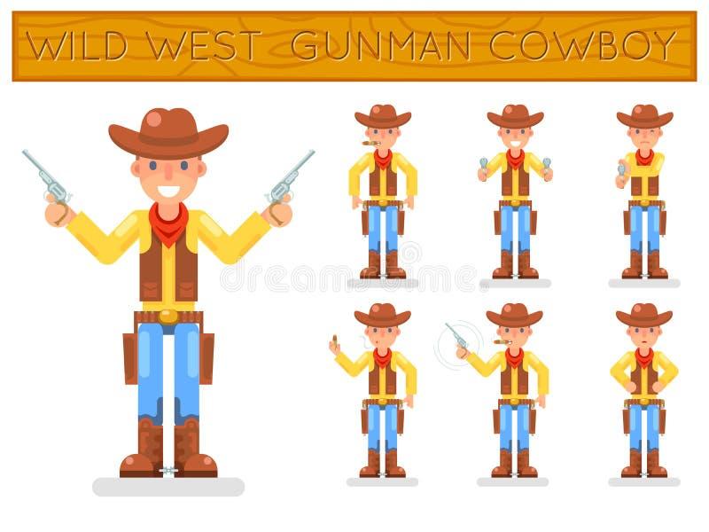Los caracteres planos del diseño del vaquero retro americano del oeste salvaje del pistolero fijados aislaron el ejemplo del vect stock de ilustración