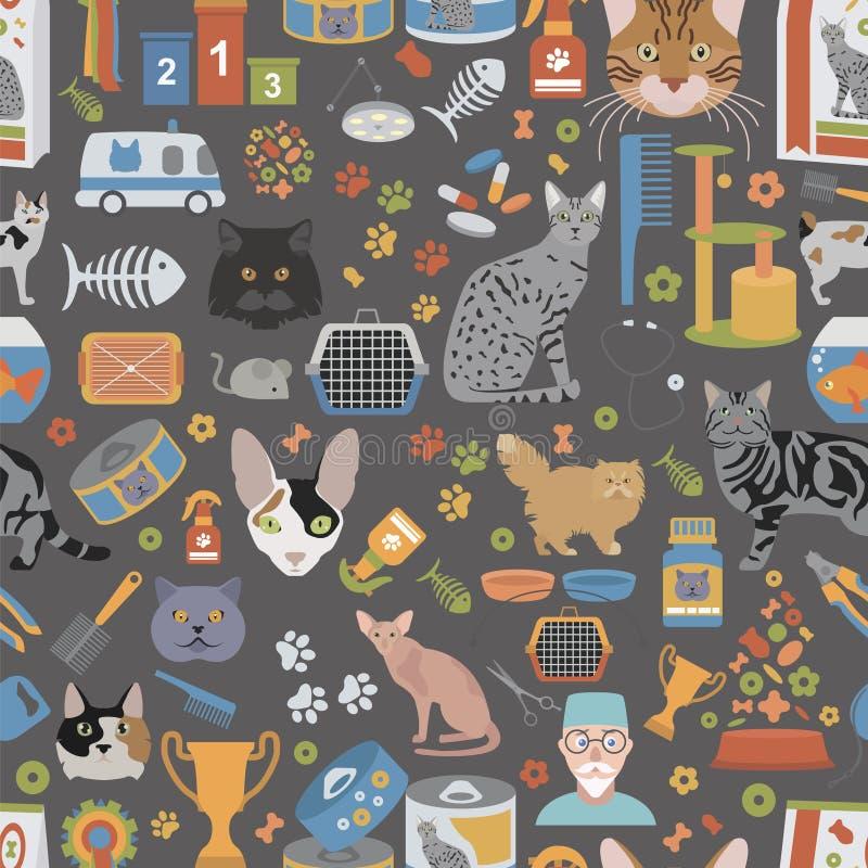 Los caracteres y el veterinario del gato cuidan estilo plano del modelo inconsútil stock de ilustración