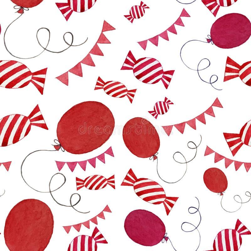 Los caramelos coloridos, las banderas y los globos de la acuarela inconsútil modelan elementos aislados en el fondo blanco stock de ilustración