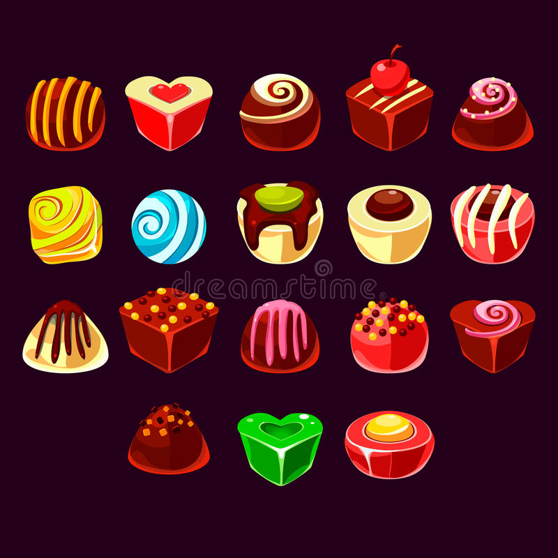 Los caramelos vector, los elementos dulces lindos del juego stock de ilustración