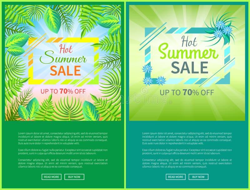 Los carteles calientes del web de la venta del verano pusieron 70 de bandera stock de ilustración