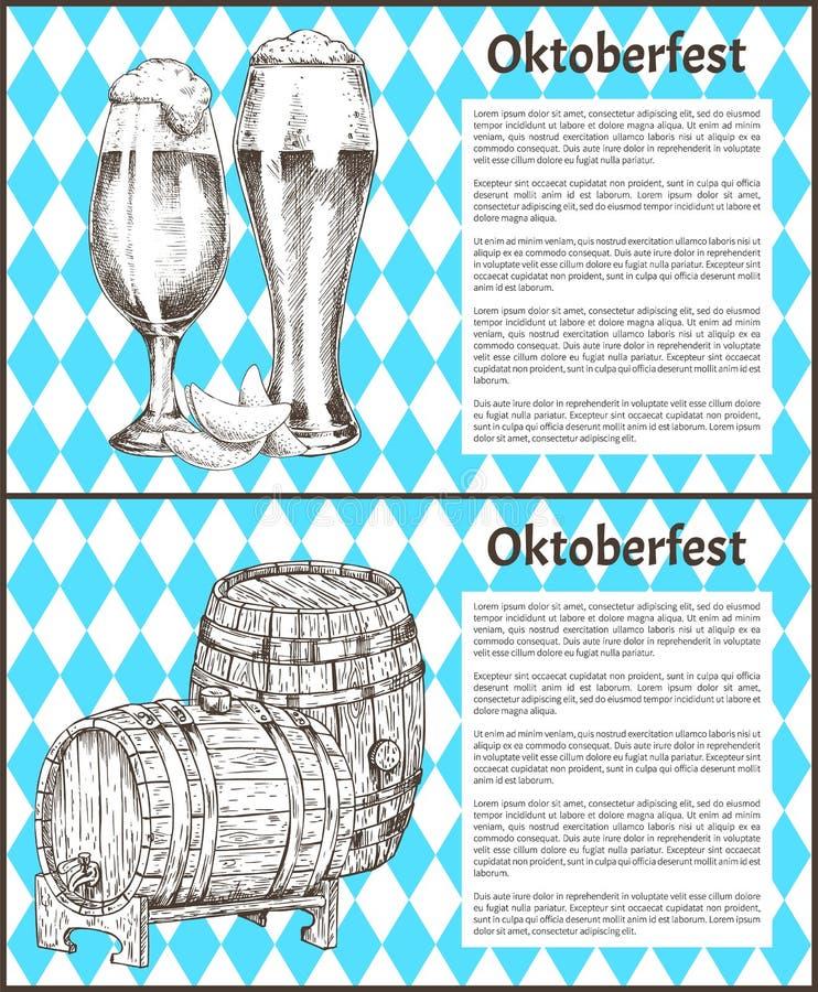 Los carteles de Oktoberfest fijaron el barrilete de la cerveza y de Ale Glass ilustración del vector