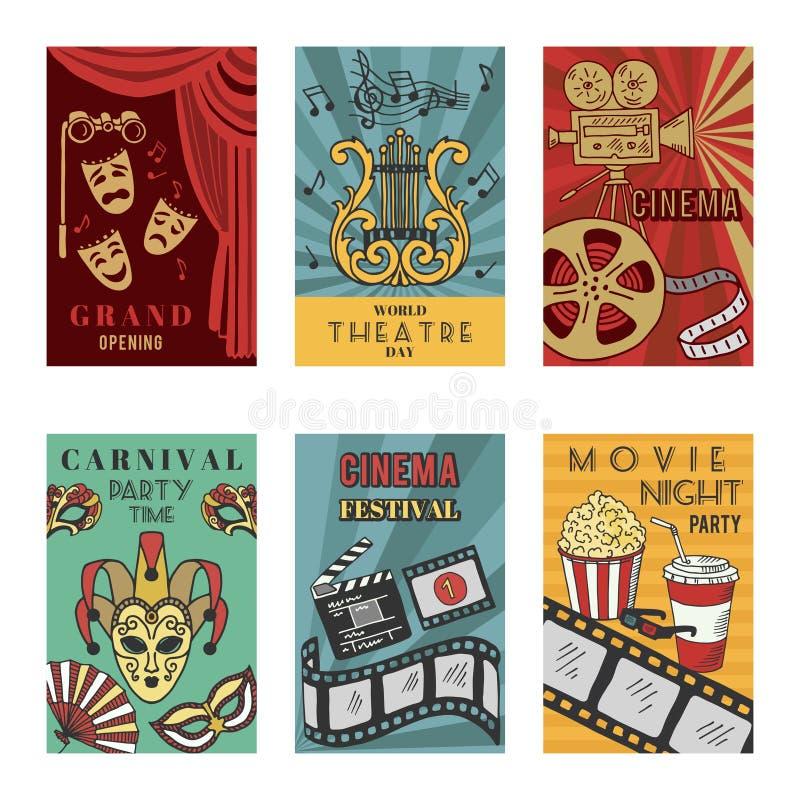 Los carteles diseñan el sistema con símbolos del teatro y del cine Aislante de los ejemplos del vector stock de ilustración