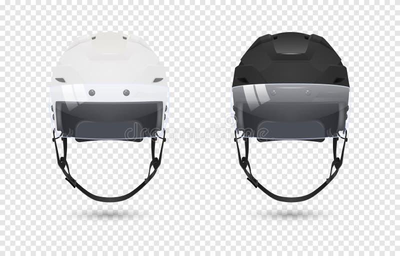 Los cascos clásicos realistas del hockey sobre hielo con el visera fijaron - color blanco y negro Aislado en fondo transparente f stock de ilustración