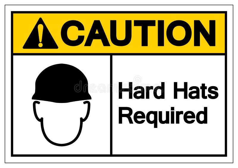 Los cascos de la precaución requirieron la muestra del símbolo, ejemplo del vector, aislante en la etiqueta blanca del fondo EPS1 ilustración del vector