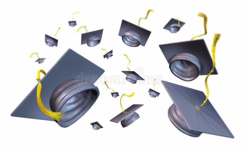 Los casquillos y el mortero de la graduación sube lanzado ilustración del vector