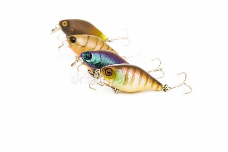 Los cebos duros de agua dulce engañan bajo la forma de pescado - los enchufes o los wobblers de la pesca - en fila en un fondo bl imagen de archivo