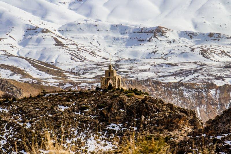Los cedros en Líbano en el invierno de 2018 imagen de archivo