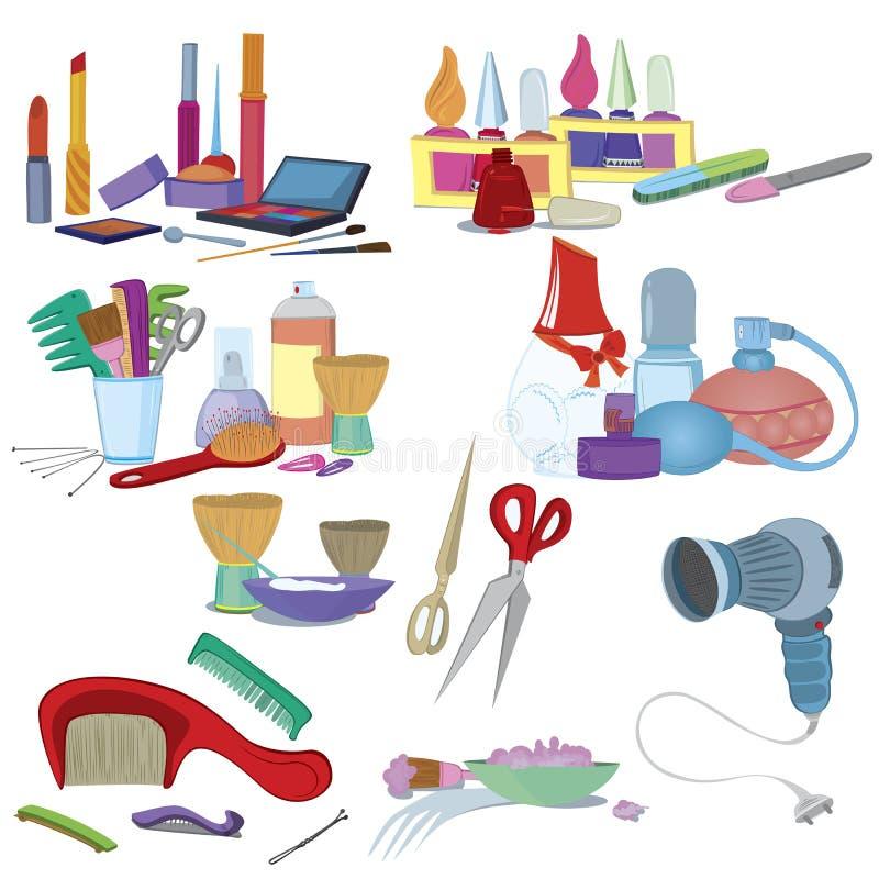 Los cepillos del salón de belleza, componen el conjunto del icono de la manicura stock de ilustración