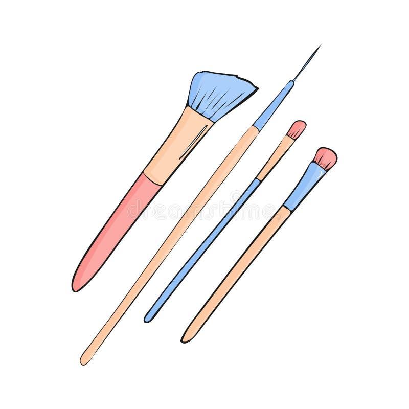 los cepillos para componen el sistema Objeto de la belleza en estilo de la historieta en el fondo blanco Ejemplo del símbolo del  stock de ilustración