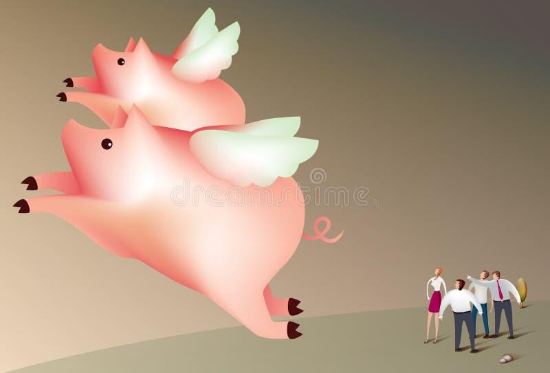 Los cerdos vuelan ilustración del vector