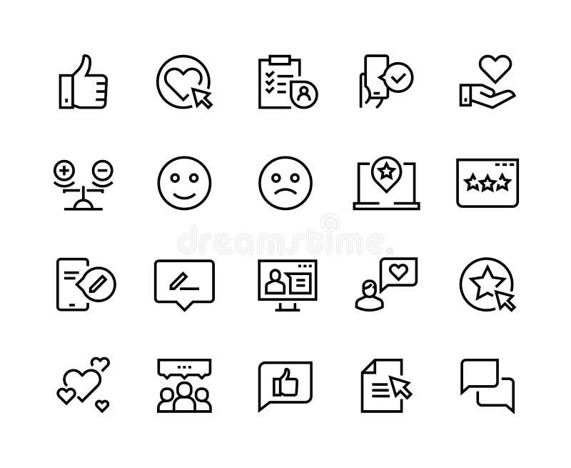 Los certificados alinean iconos Satisfacción positiva del estudio de los comentarios de clientes del cliente de la experiencia fe ilustración del vector