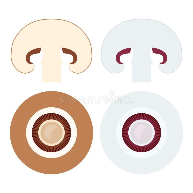 Los champiñones fijaron con los iconos de la endecha del plano del marrón entero y cortado stock de ilustración