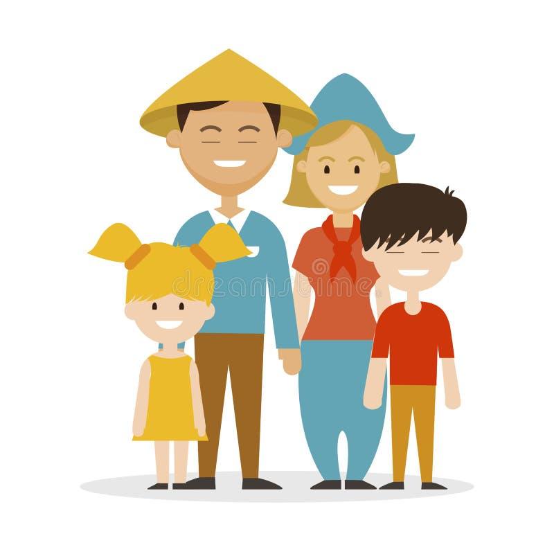 Los chinos étnicos del padre de la familia, miman al europeo libre illustration