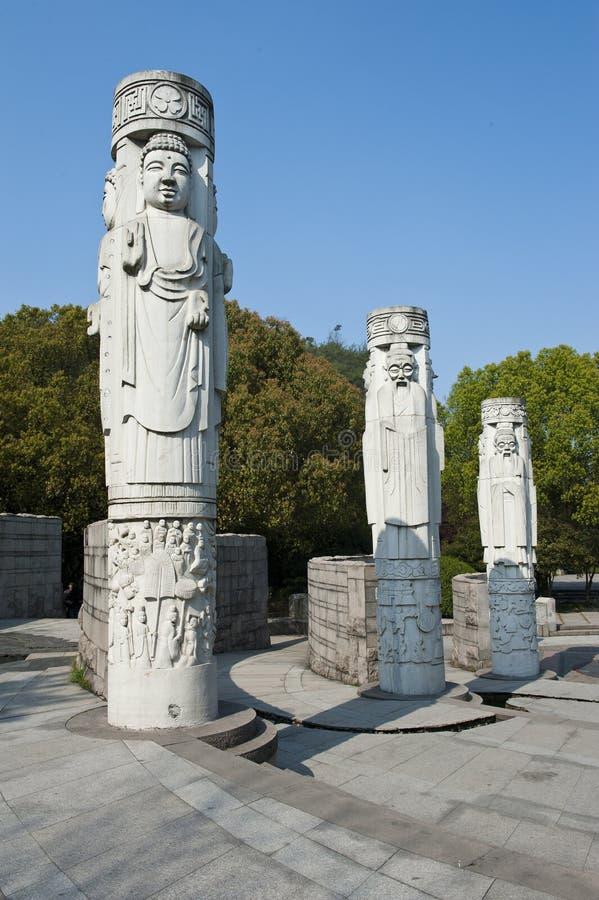 Pilar de la piedra del chino tradicional fotografía de archivo