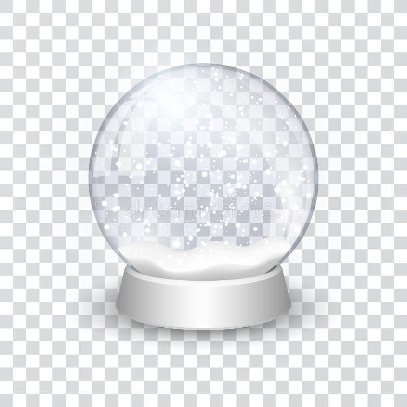Los chrismas realistas del Año Nuevo de la bola del globo de la nieve se oponen aislado en fondo transperent con la sombra, ejemp ilustración del vector