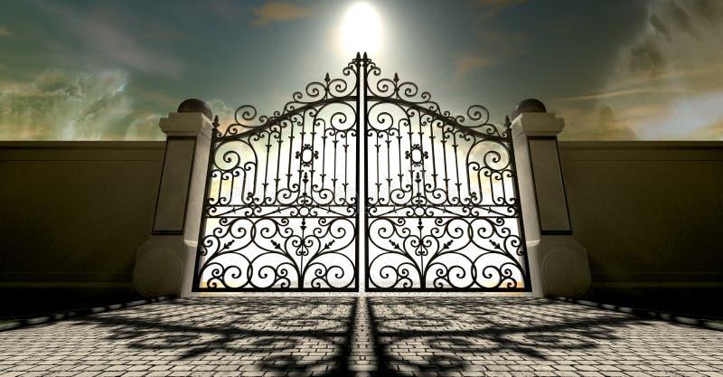Los cielos cerraron las puertas adornadas ilustración del vector