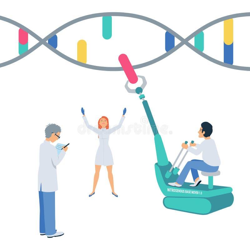 Los científicos reconstruyen el genoma humano Ilustración del concepto ilustración del vector