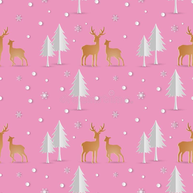 Los ciervos con el modelo inconsútil de la repetición de los copos de nieve en fondo rosado suave, iconos del invierno del día de ilustración del vector