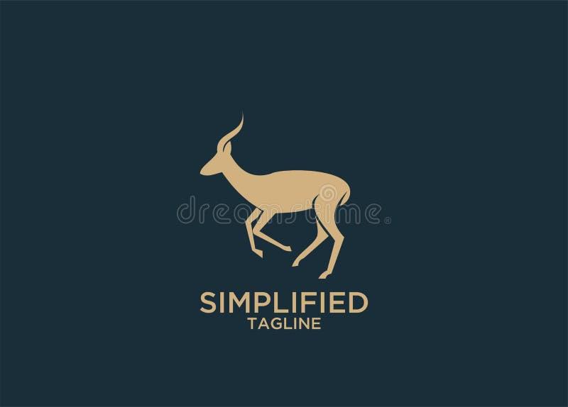 Los ciervos del oro del antílope saltan vector negro de los diseños del icono del logotipo de la silueta ilustración del vector