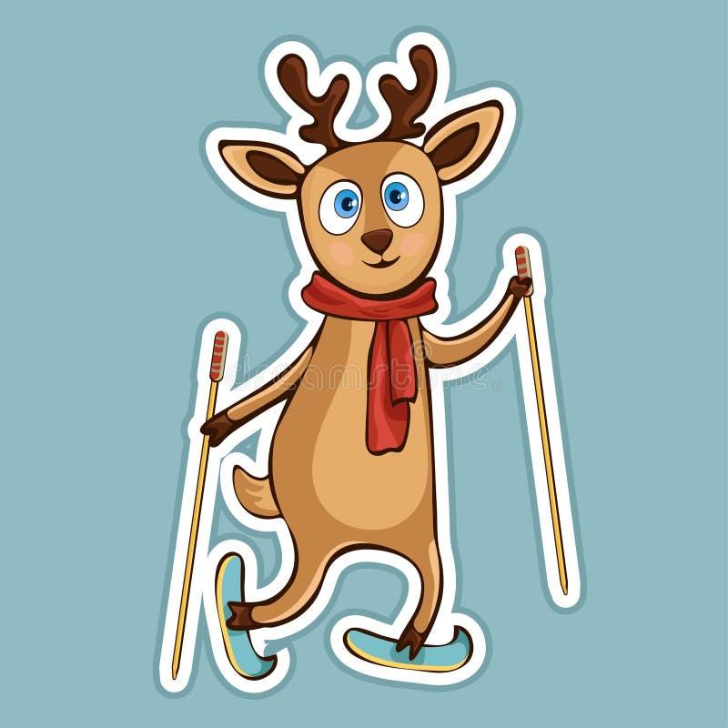 Los ciervos divertidos lindos pintados en bufanda con los polos de esquí montan la etiqueta engomada de esquí, impresión, dibujo  libre illustration