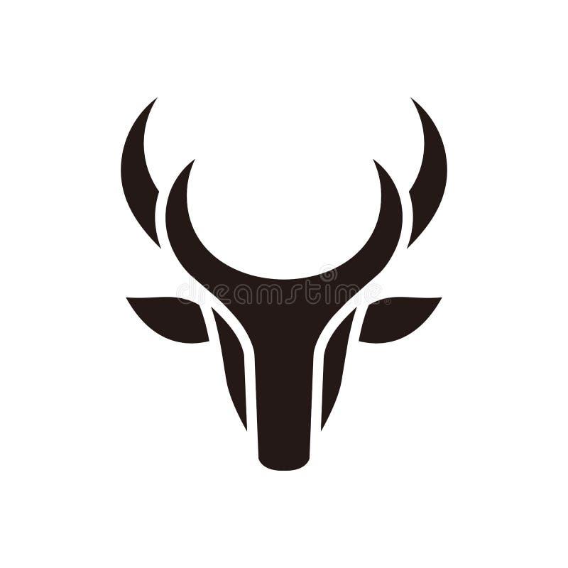 Los ciervos principales abstractos colorean la plantilla negra del vector del ejemplo del diseño ilustración del vector